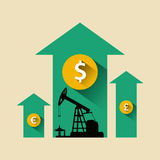 Oil industry concept. Oil price growing up arrow with petroleum Royalty Free Stock Images