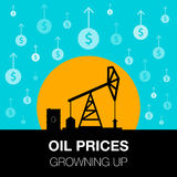 Oil industry concept. Oil price growing up with dollar coin and. Petroleum pump. Financial markets. vector illustration Royalty Free Stock Image