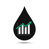 Oil industry concept. Oil price growing up graph with oil drop. Financial markets. vector illustration Stock Photos