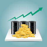 Oil industry concept. Oil price growing up graph with oil tank a. Nd dollar coins. Financial markets. vector illustration Stock Image