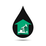 Oil industry concept. Oil price growing up graph with petroleum. Pump and oil drop. Financial markets. vector illustration Stock Photos