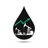 Oil industry concept. Oil price growing up graph with petroleum. Pump and oil drop. Financial markets. vector illustration Royalty Free Stock Image