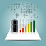 Oil industry concept. Oil price growing up graph with world map Stock Photography