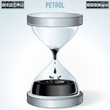 Oil Industry Concept. Petrol Flowing in Hourglass Stock Photography
