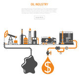 Oil industry Concept. With Two Color Flat Icons extraction production refinery and transportation oil and petrol. isolated vector illustration Stock Images