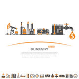 Oil industry Concept. With Two Color Flat Icons extraction production and transportation oil and petrol. isolated vector illustration Royalty Free Stock Image