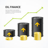 Oil Industry Crisis Graph Concept. Vector. Oil Industry Graph Concept. Green Arrow Up Financial Success. Vector illustration Royalty Free Stock Photography
