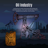 Oil Industry Drawn Background Stock Images