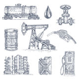 Oil Industry Drawn Icon Set. Set of nine isolated monochrome hand drawn decorative icons with oil industry elements vessels and machinery vector illustration Royalty Free Stock Photos