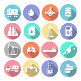 Oil industry drilling refining process petroleum. Transportation icons set with truck petroleum  tanker and pump flat isolated vector illustration Royalty Free Stock Photography