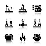 Oil industry drop shadow black icons set Royalty Free Stock Photos