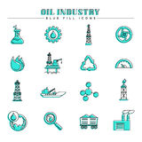 Oil industry and energy, blue fill icons set. Modern line and color spot style icons, perfect for your branding, web, print or infographic design project Royalty Free Stock Photography