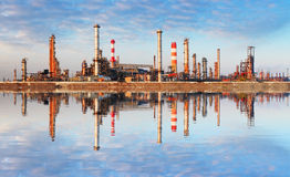 Oil Industry - Factory with reflection in water Royalty Free Stock Photography