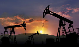 Oil industry. Oil field with pump jack , oil industry Royalty Free Stock Photos