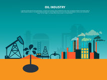 Oil Industry Flat Background stock illustration