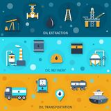 Oil Industry Flat Banners. Set with extraction refinery transportation elements  vector illustration Royalty Free Stock Images