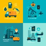 Oil industry flat composition. Oil industry business concept of gasoline diesel production fuel distribution and transportation four icons composition vector vector illustration
