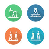 Oil industry flat design icons set Royalty Free Stock Photo