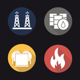 Oil industry flat design long shadow icons set. Oil rig, barrels and storage. Flammable sign. Vector symbols Royalty Free Stock Images