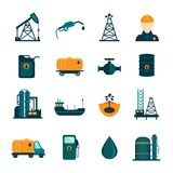 Oil Industry Flat Icons Stock Image
