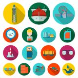Oil industry flat icons in set collection for design. Equipment and oil production vector symbol stock web illustration. Royalty Free Stock Photo