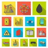 Oil industry flat icons in set collection for design. Equipment and oil production vector symbol stock web illustration. Stock Images