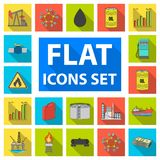 Oil industry flat icons in set collection for design. Equipment and oil production vector symbol stock web illustration. Stock Photography