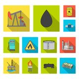 Oil industry flat icons in set collection for design. Equipment and oil production vector symbol stock web illustration. Oil industry flat icons in set vector illustration