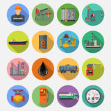 Oil industry Flat Icons Set. Oil industry extraction production and transportation oil and petrol Flat Icons Set with oilman, rig and barrels on colored circles Stock Photos