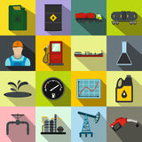 Oil industry flat icons set Royalty Free Stock Images