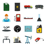 Oil industry flat icons set Stock Photos