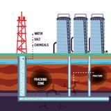 Oil industry with fracking process. Vector illustration design stock illustration