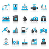 Oil industry, Gas production, transportation and storage icons. Vector icon set Royalty Free Stock Photos