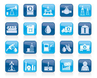 Oil industry, Gas production, transportation and storage icons Royalty Free Stock Photo