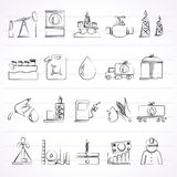 Oil industry, Gas production, transportation and storage icons Royalty Free Stock Images