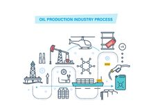 Oil industry, gas station, oil production industry. Oil development thin line icons. Full cycle of oil production, sales and storage of petroleum products stock illustration