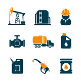 Oil industry gasoline processing icons. Oil industry ans gasoline processing icons. Editable vector set Stock Photos