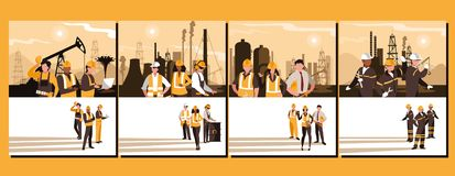 Oil industry group scenes and workers. Vector illustration design vector illustration