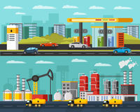 Oil Industry Horizontal Banners Stock Photos