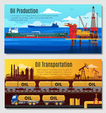 Oil Industry Horizontal Banners. With petroleum extraction and refining railway and truck transportation vector illustration royalty free illustration