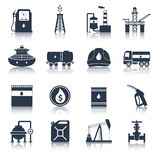 Oil Industry Icons Black Stock Photo