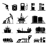 Oil industry icons. Collection of icons presenting equipment and parts of manufacturing plant used in oil industry. Collection of premium quality pictograms Stock Photography