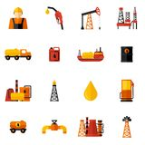 Oil Industry Icons Flat Stock Images