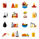 Oil Industry Icons Flat Set Royalty Free Stock Photo