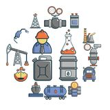 Oil industry icons set, cartoon style. Oil industry icons set. Cartoon illustration of 16 oil industry vector icons for web Stock Photos