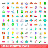 100 oil industry icons set, cartoon style. 100 oil industry icons set in cartoon style for any design vector illustration Stock Images