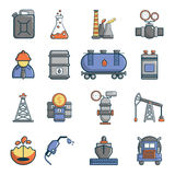 Oil industry icons set, cartoon style. Oil industry icons set. Cartoon illustration of 16 oil industry vector icons for web Stock Images