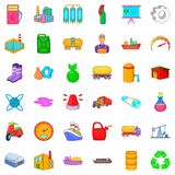 Oil industry icons set, cartoon style. Oil industry icons set. Cartoon set of 36 oil industry vector icons for web isolated on white background Royalty Free Stock Photography