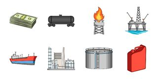 Oil industry icons in set collection for design.. Oil industry icons in set collection for design. Equipment and oil production vector symbol stock Royalty Free Stock Photos