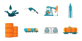 Oil industry icons in set collection for design.. Equipment and oil production vector symbol stock  illustration Royalty Free Stock Photography